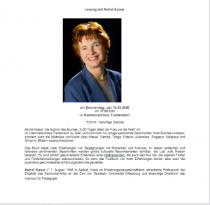 Einladung zur Lesung mit Astrid Kaiser: entfällt wegen Krankheit