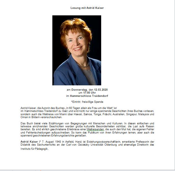 Einladung zur Lesung @ Hammerschloss Traidendorf